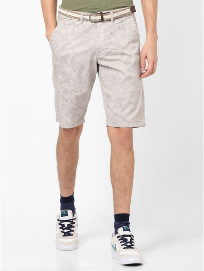 Printed Beige Shorts