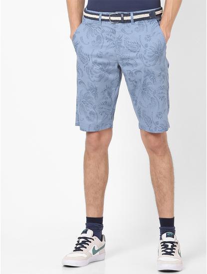 Printed Light Blue Shorts
