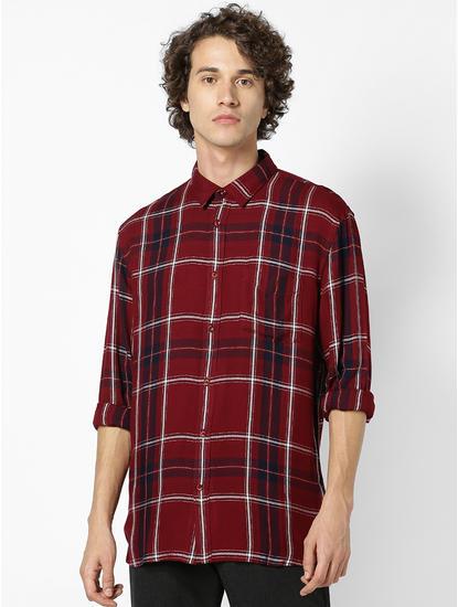 Regular Fit Burgundy Viscose Shirt