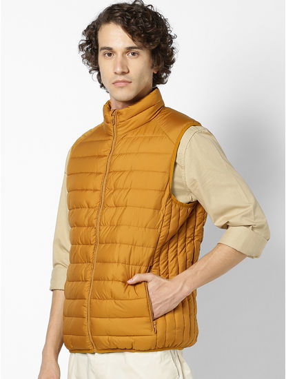 Yellow Regular Fit Sleeveless Bomber Jacket