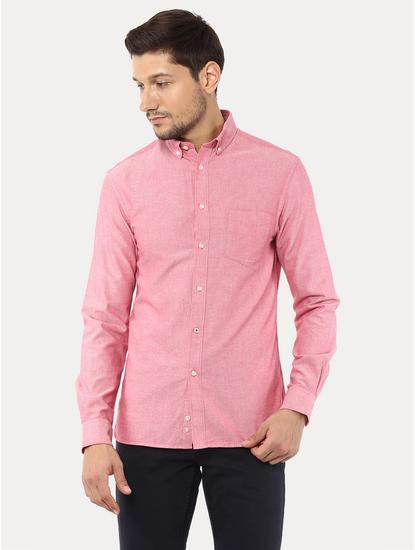 Pink Melange Casual Shirt