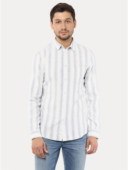Blue and White Striped Casual Shirt