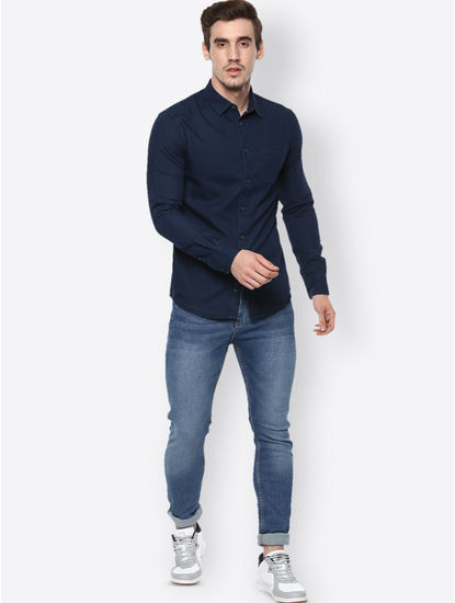 Navy Solid Casual Shirt