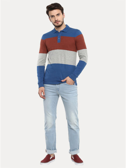 Multicoloured Colourblock Polo T-Shirt