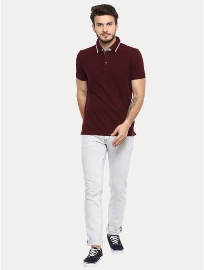 Burgundy Solid Polo T-Shirt
