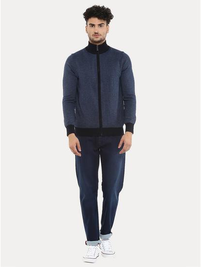 Dark Blue Solid Straight Jeans