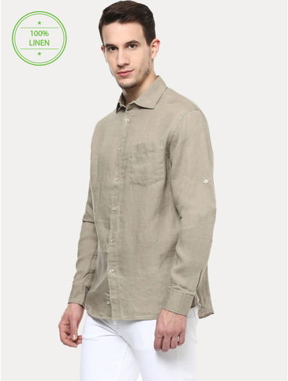 Beige 100% Linen Regular Shirt