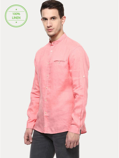 Pink 100% Linen Regular Shirt