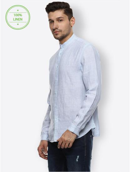 Blue 100% Linen Slim Shirt