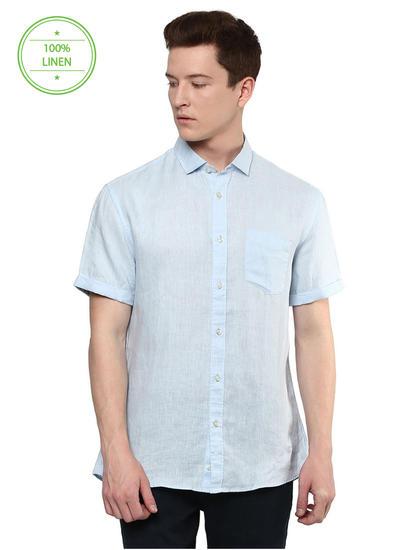 Blue Melange Casual Shirt