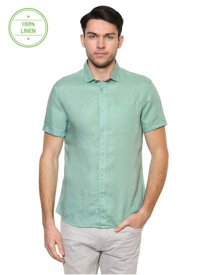 Green Melange Casual Shirt