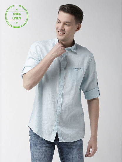 Sea Blue Solid Casual Shirt
