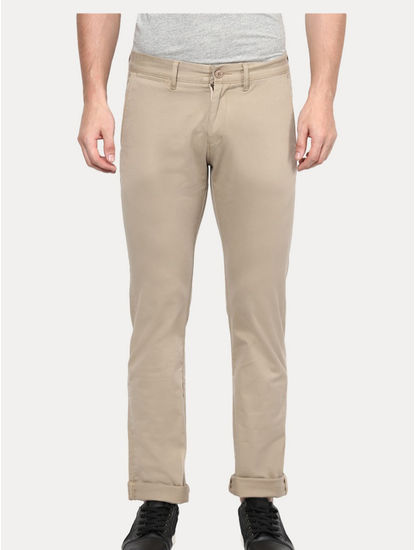 Beige Straight Formal Trousers