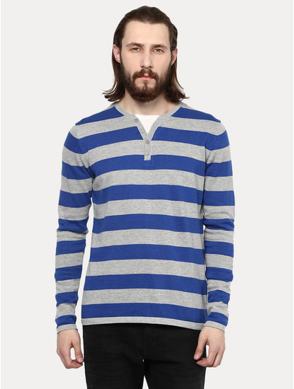 Blue and Grey Striped T-Shirt