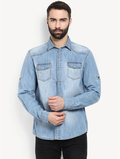 Light Blue Denim Casual Shirt