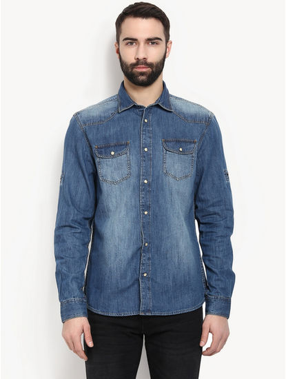 Dark Blue Denim Casual Shirt