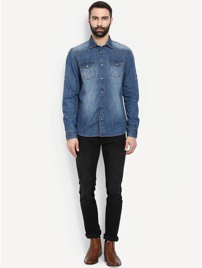 Dark Blue Denim Casual Shirt