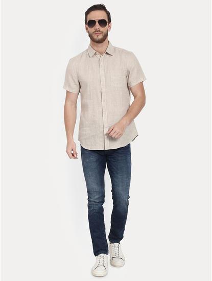 Beige Melange Casual Shirt