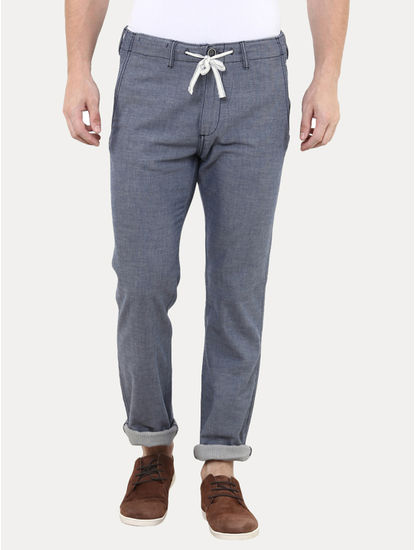 Blue Flat Front Formal Trousers