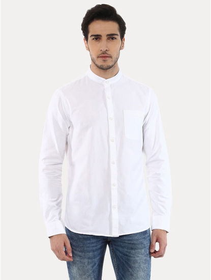 Gaoxford White Solid Casual Shirt