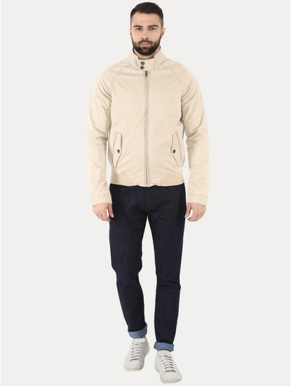 Gucotton Beige Solid Bomber Jacket