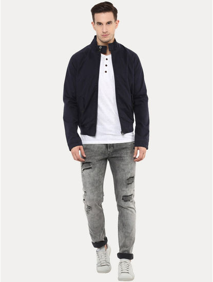 Gucotton Blue Solid Bomber Jacket