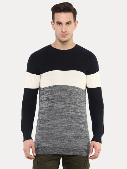 Getrio Blue and Grey Colourblock Sweatshirt