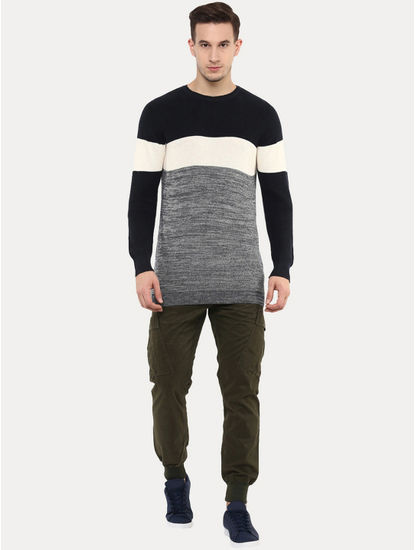 Getrio Blue and Grey Colourblock Sweatshirt