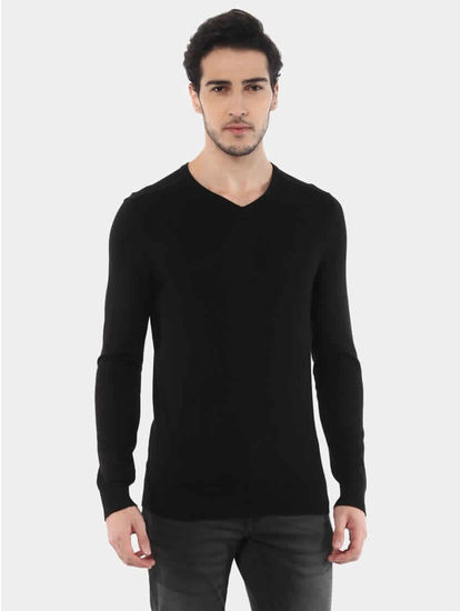 Jegivre Black Solid Sweater