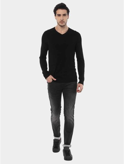 Jegivre Black Solid Sweater
