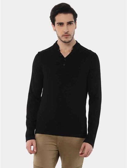 Jemajor Black Solid T-Shirt