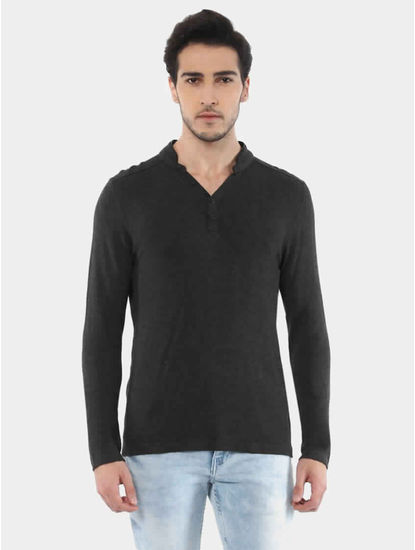 Jemajor Charcoal Solid T-Shirt