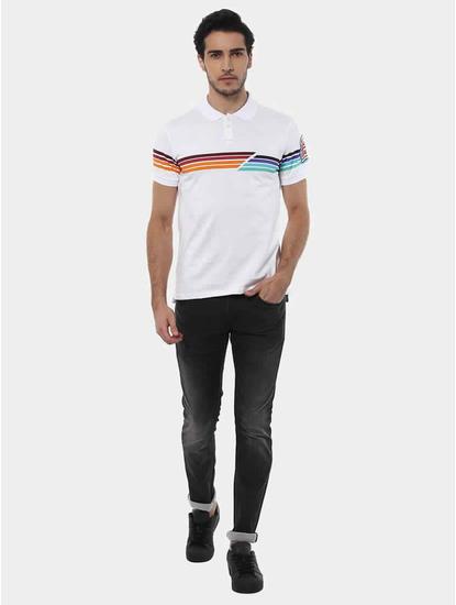 Jetwin White Melange Polo T-Shirt