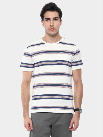 Jebritain White and Blue Striped T-Shirt