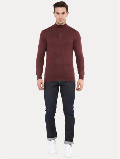 Felim Maroon Melange Sweater