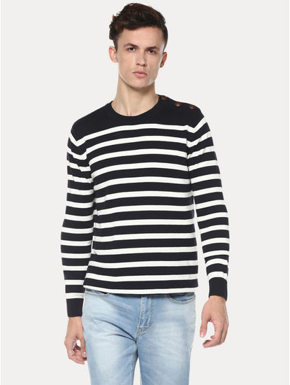 Navy and White Striped Sweatshirt