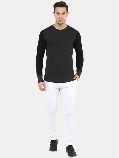 Jewaff Black Striped Sweater