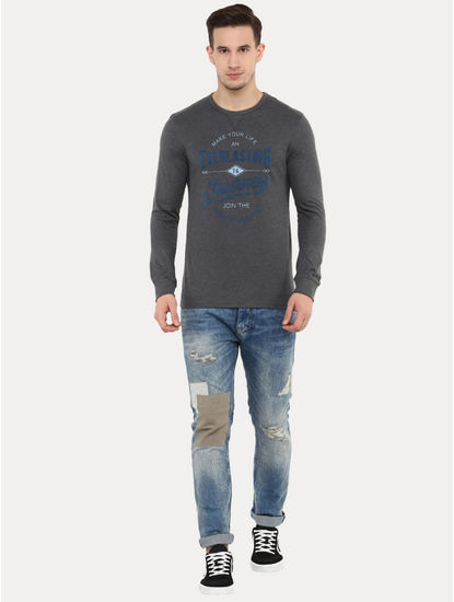 Jescape Grey Printed T-Shirt