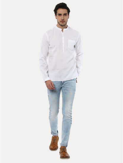 Jawaffle White Solid Casual Shirt
