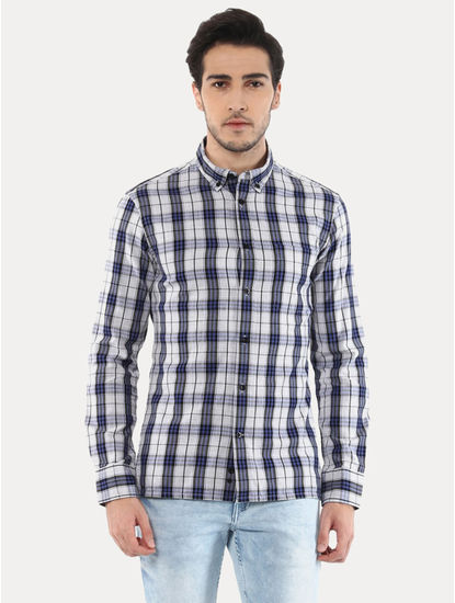 Jasquare Grey and Blue Checked Casual Shirt