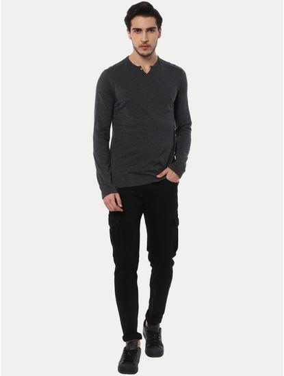 Abelong Grey Solid T-Shirt