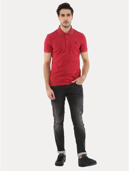 Lecolrayeb Red Solid T-Shirt