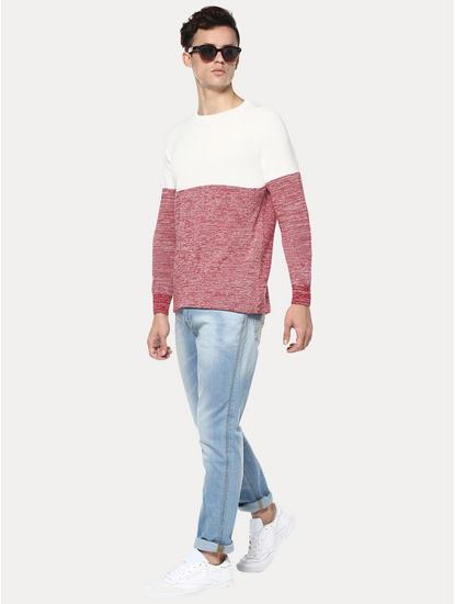 White and Red Colourblock Sweatshirt