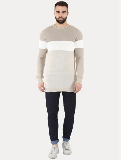 Getrio Beige Colourblock Sweater