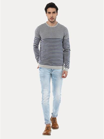 Geyacht Grey and Blue Striped Sweater