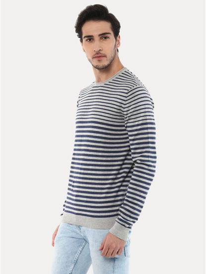 Geyacht Grey and Blue Striped Sweater