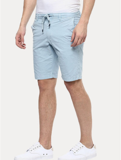 Light Blue Solid Shorts