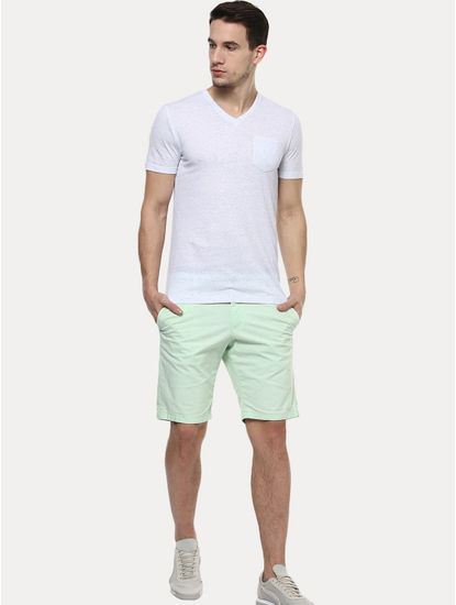 Light Green Solid Shorts