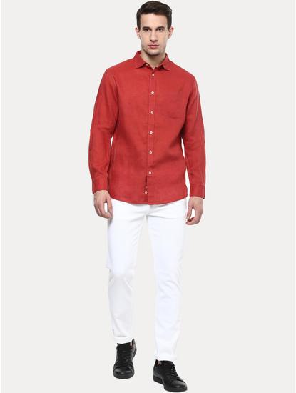 Red 100% Linen Regular Shirt