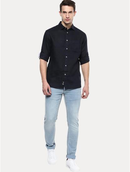 Blue 100% Linen Regular Shirt